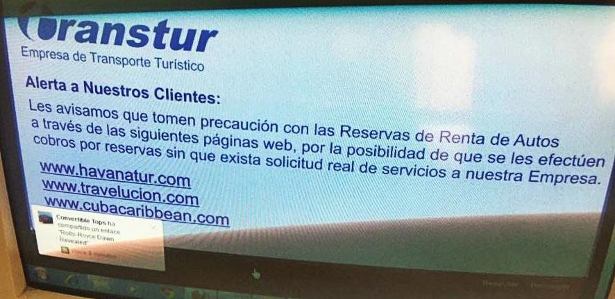 capture d'écran faite dans une agence Transtur à Cuba